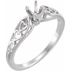 Heart Motif Ring Cathedral Zásnubný Prsteň alebo Obrúčka neosadené