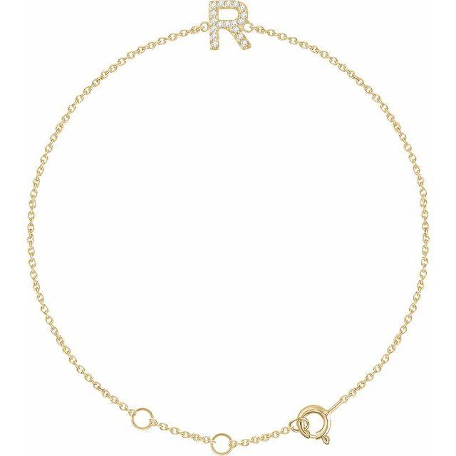 "14K Yellow .06 CTW Diamond Initial R 6-7"" Bracelet"