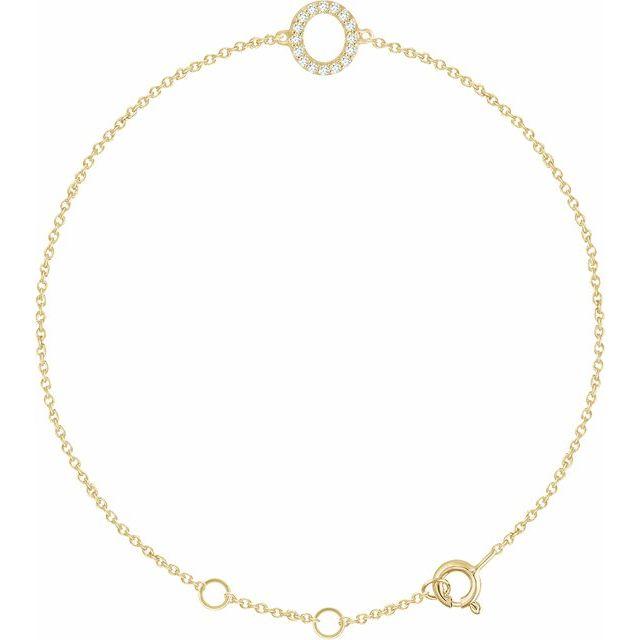 """14K Yellow .06 CTW Diamond Initial O 6-7"""" Bracelet"""