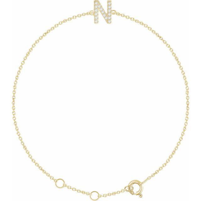 "14K Yellow .06 CTW Diamond Initial N 6-7"" Bracelet"