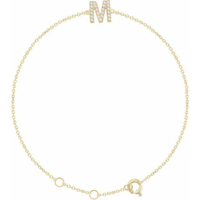 "14K Yellow .07 CTW Diamond Initial M 6-7"" Bracelet"