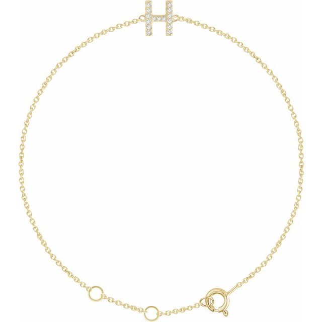 "14K Yellow .06 CTW Diamond Initial H 6-7"" Bracelet"