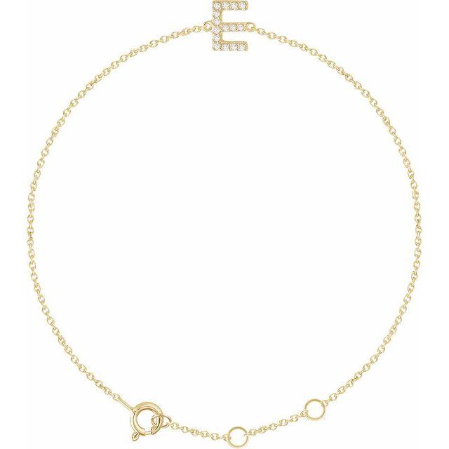 "14K Yellow .06 CTW Diamond Initial E 6-7"" Bracelet"