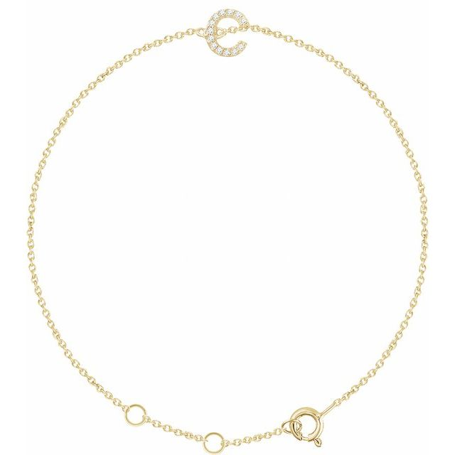 "14K Yellow .04 CTW Diamond Initial C 6-7"" Bracelet"