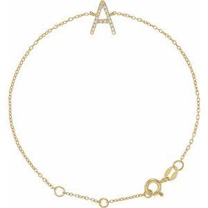 "14K Yellow  1/10 CTW Diamond Initial A 6-7"" Bracelet"