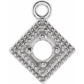 Round 4-Prong Double Milgrain Kite Dangle