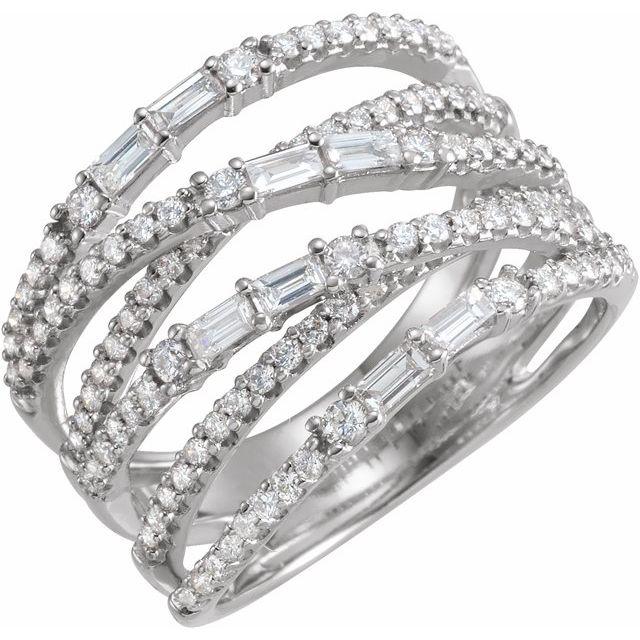 14K White 1 CTW Diamond Negative Space Ring