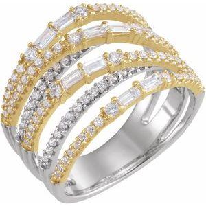 14K White & Yellow 1 CTW Diamond Negative Space Ring