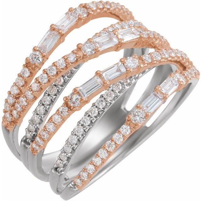 14K White & Rose 1 CTW Diamond Negative Space Ring