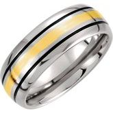 Tungsten & 14K Yellow Inlay Black Antiqued Band