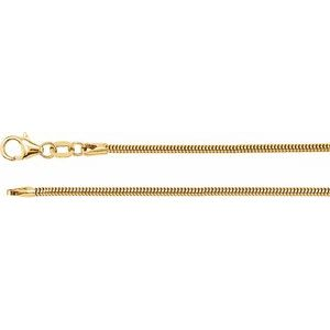 "14K Yellow 1.5 mm Solid Round Snake 20"" Chain"