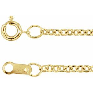 "14K Yellow 1.5 mm Solid Cable 18"" Chain"