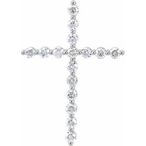 14K White 5/8 CTW Diamond Cross Pendant