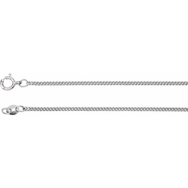 Sterling Silver 1.6 mm Solid Curb Link Flat Chain 24