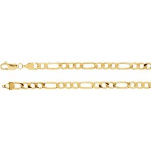 "14K Yellow 5 mm Solid Figaro 7"" Chain"