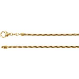 "14K Yellow 2 mm Solid Round Snake 7"" Chain"
