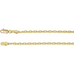 "14K Yellow 2.5 mm Diamond-Cut Cable 7"" Chain"
