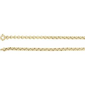 "14K Yellow 6.5 mm Hollow Rolo 7"" Chain"