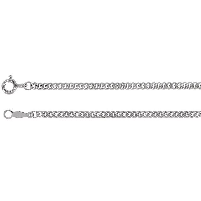 Sterling Silver 2.25 mm Solid Curb Link 24