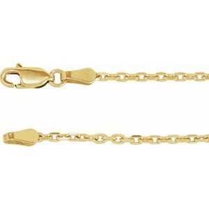 "14K Yellow 2 mm Diamond-Cut Cable 7"" Chain"
