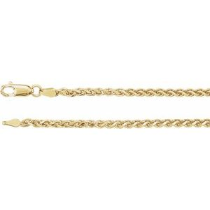 "14K Yellow 2.75 mm Diamond Cut Wheat 7"" Chain"