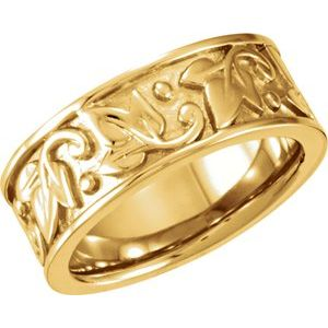 14K Yellow 8 mm Leaf Design Band Size 5