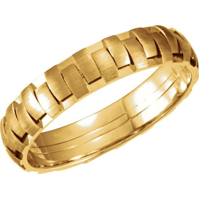 14K Yellow 5 mm Design Band with Satin Finish Size 12.5