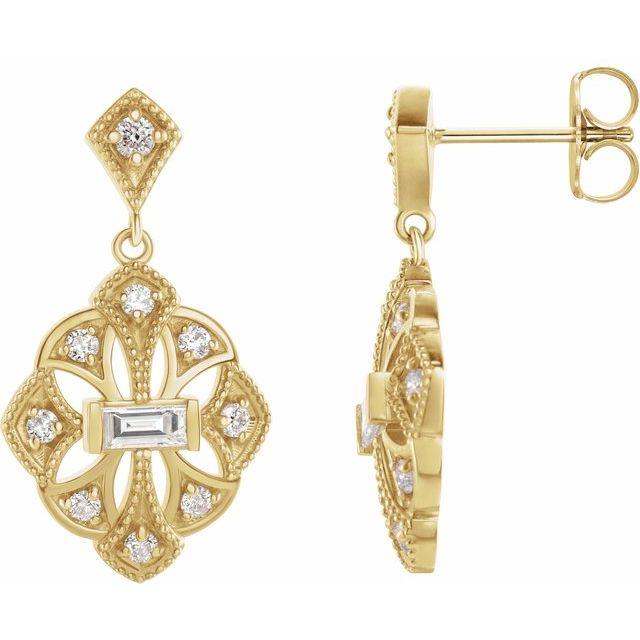 14K Yellow 3/8 CTW Diamond Vintage-Inspired Earrings