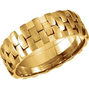 14K Yellow 8 mm Design Band with Satin Finish Size 14
