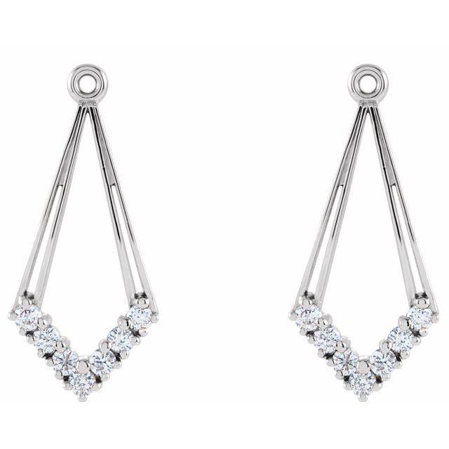 14K White 1/4 CTW Natural Diamond Earring Jackets