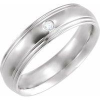 14K White .04 CT Diamond Half Round Edge Band Size 4