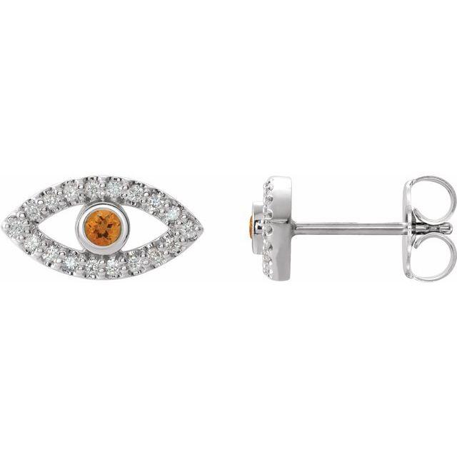 14K White Citrine & White Sapphire Earrings