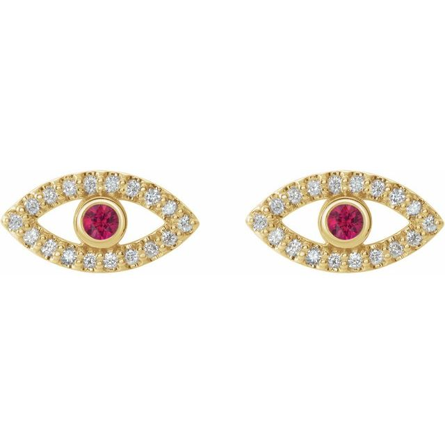 14K Yellow Ruby & White Sapphire Earrings