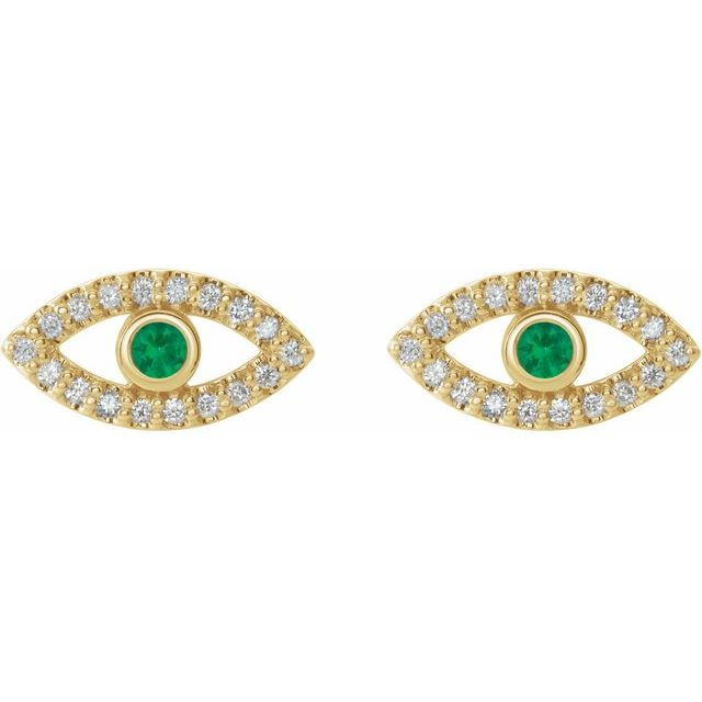 14K Yellow Emerald & White Sapphire Earrings