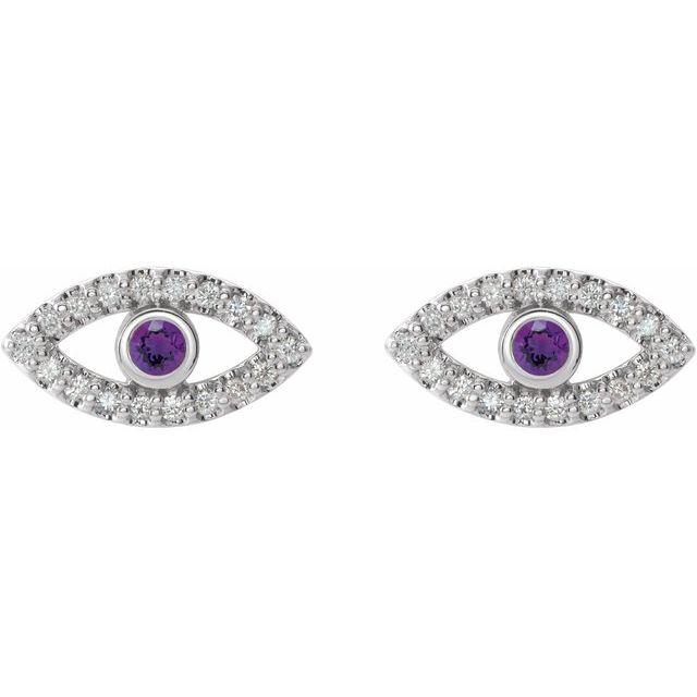 14K White Amethyst & White Sapphire Earrings