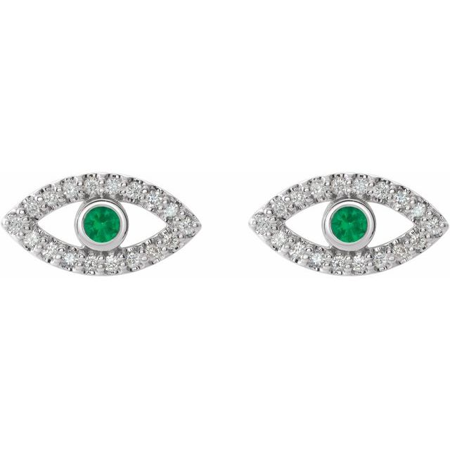 14K White Emerald & White Sapphire Earrings