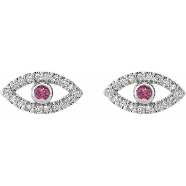 14K White Pink Tourmaline & White Sapphire Earrings