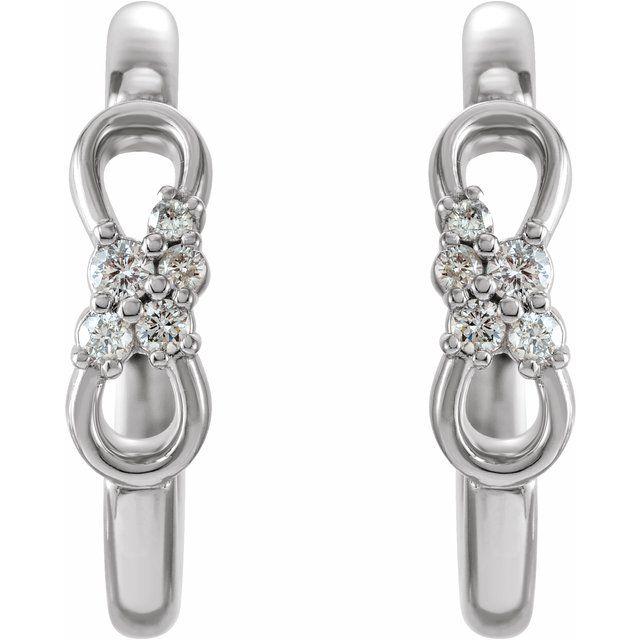 14K White .08 CTW Diamond Infinity-Inspired Hoop Earrings