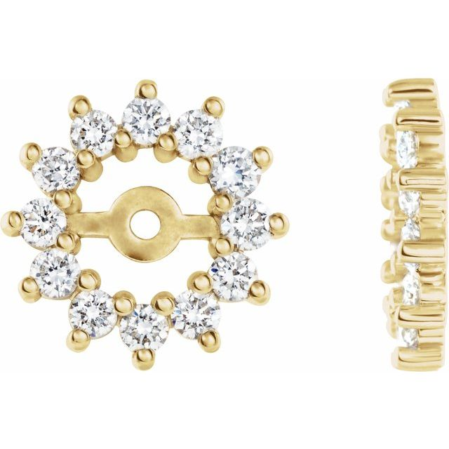 14K Yellow 3/8 CTW Diamond Earring Jackets with 4.2mm ID