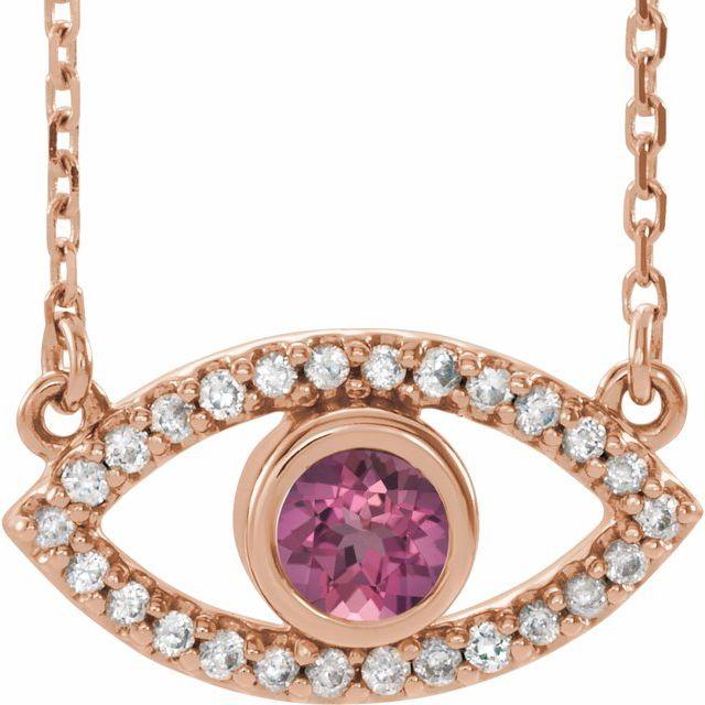 "14K Rose Pink Tourmaline & White Sapphire Evil Eye 18"" Necklace"