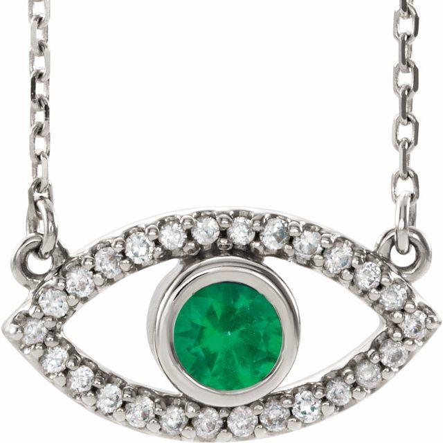 14K White Natural Emerald & Natural White Sapphire Evil Eye 18