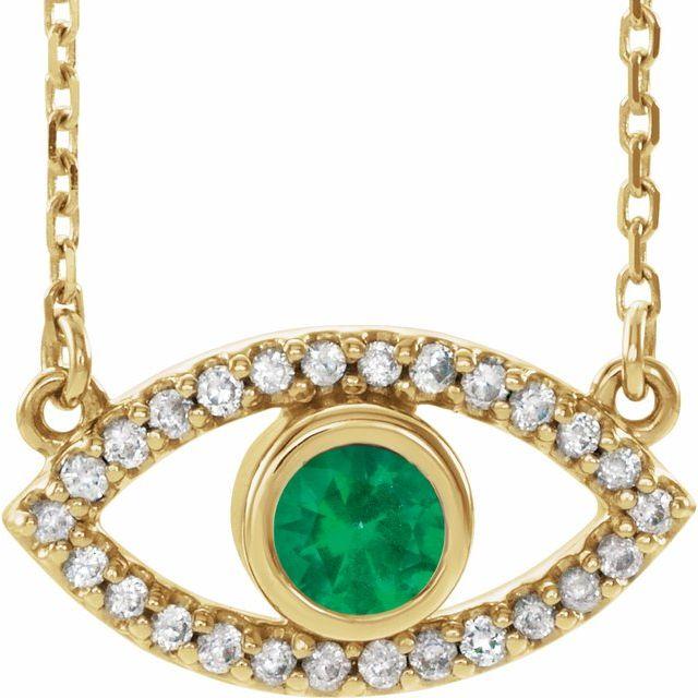 14K Yellow Natural Emerald & Natural White Sapphire Evil Eye 18