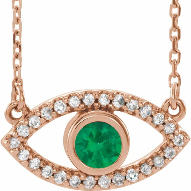 14K Rose Natural Emerald & Natural White Sapphire Evil Eye 18