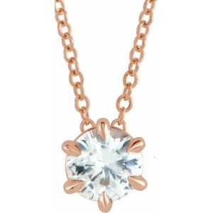"""14K Rose Sapphire Solitaire 16-18"""" Necklace"""