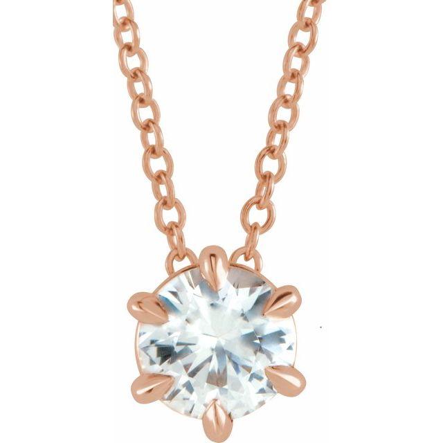 14K Rose 1/2 CT Diamond Solitaire 16-18