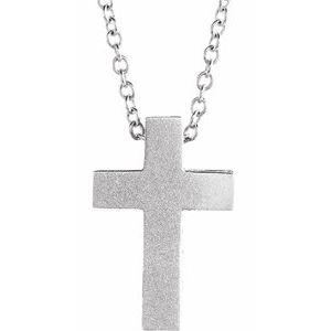 "Sterling Silver 13.5x9 mm Scroll Cross 16-18"" Necklace"