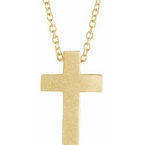 "14K Yellow 13.5x9 mm Scroll Cross 16-18"" Necklace"