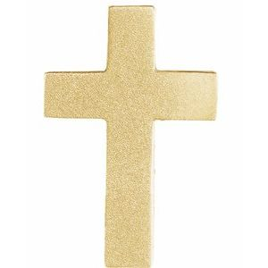 14K Yellow 13.5x9 mm Scroll Cross Slide Pendant