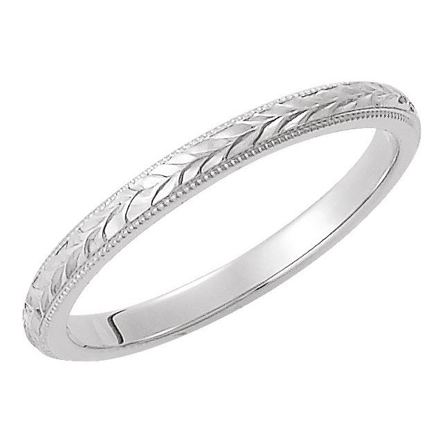 14K White 2 mm Design-Engraved Band Size 5.5