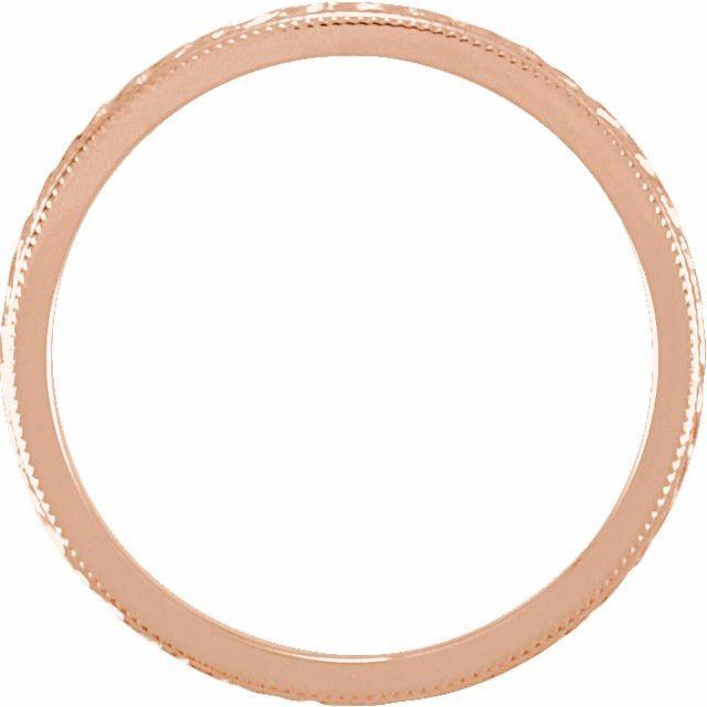 14K Rose 2 mm Design-Engraved Band Size 6.5